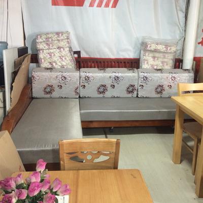 运栋家具 转角木架沙发床