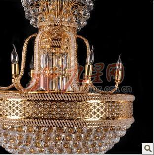 金黄水晶灯简欧式水晶灯大型灯具复式楼客厅酒店大堂