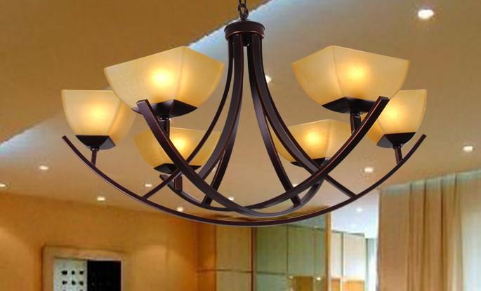 欧式简约客厅铜艺吊灯
