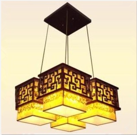 班居中式灯具古典灯饰实木雕花羊皮灯