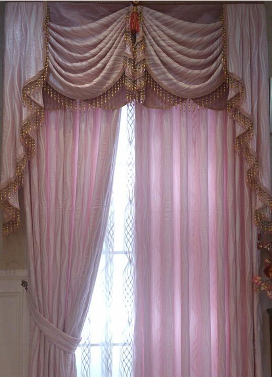 韩达丝 卧室客厅 粉色欧式窗帘