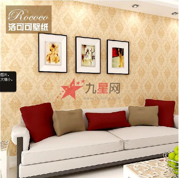 洛可可欧式大花客厅有图案无纺布墙纸环保壁纸