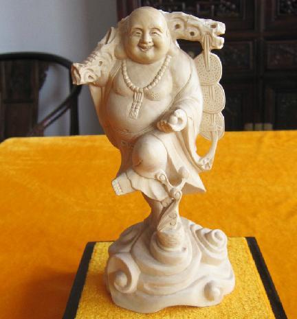 东阳木雕红木工艺品摆件小叶黄杨木雕佛像弥勒佛