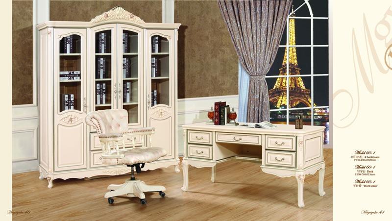 转角书桌书柜 飘窗书桌书柜效果图 欧式转角书桌