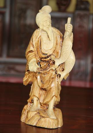东阳木雕红木工艺品摆件 黄杨木雕佛像双鱼翁