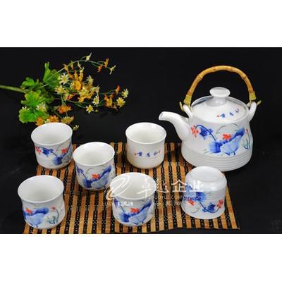 卓越陶瓷 7头手绘兰荷花茶具