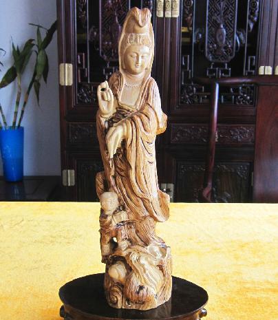 东阳木雕红木工艺品摆件 黄杨木雕佛像送子观音