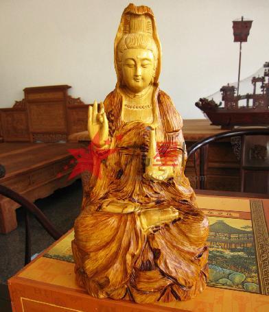 东阳木雕红木工艺品摆件黄杨木雕坐观音佛像