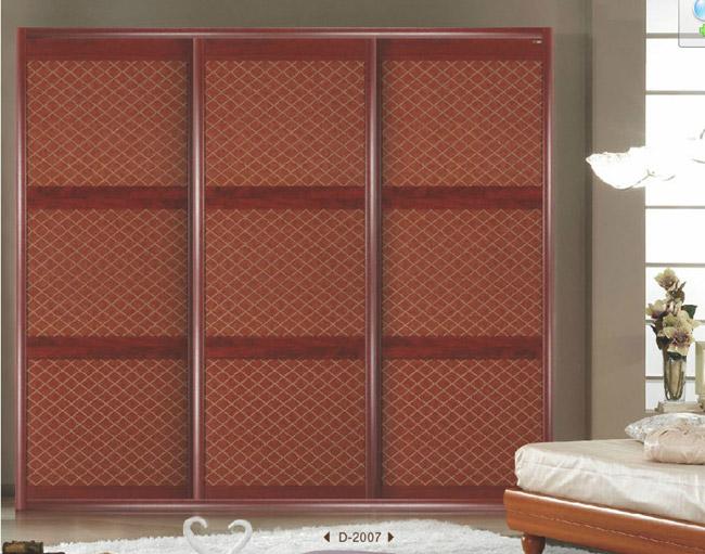 壁橱式移门 > 欧式大气德拉红皮纹衣柜移门