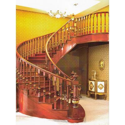 木玻璃阁楼复式别墅室内楼梯扶手立柱踏板欧式rj-026
