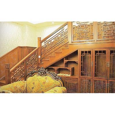 木玻璃阁楼复式别墅室内楼梯扶手立柱踏板欧式rj-029