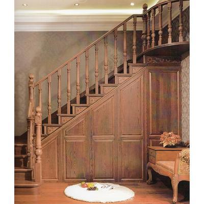木玻璃阁楼复式别墅室内楼梯扶手立柱踏板欧式rj-031