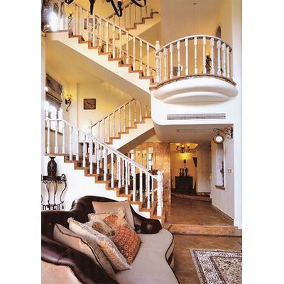 硕硕楼梯 实木旋转/钢木玻璃阁楼复式别墅室内楼梯扶手立柱踏板欧式rj