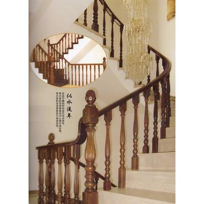 木玻璃阁楼复式别墅室内楼梯扶手立柱踏板欧式rj-036
