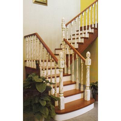 木玻璃阁楼复式别墅室内楼梯扶手立柱踏板欧式rj-040