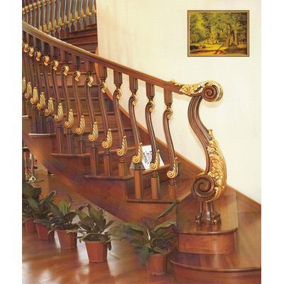木玻璃阁楼复式别墅室内楼梯扶手立柱踏板欧式rj-015