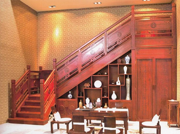 木玻璃阁楼复式别墅室内楼梯扶手立柱踏板欧式rj-030