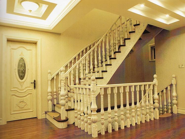 木玻璃阁楼复式别墅室内楼梯扶手立柱踏板欧式rj-033