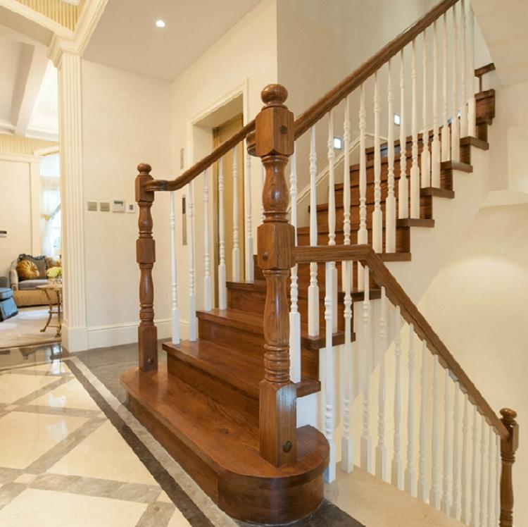 木玻璃阁楼复式别墅室内楼梯扶手立柱踏板欧式rj-061