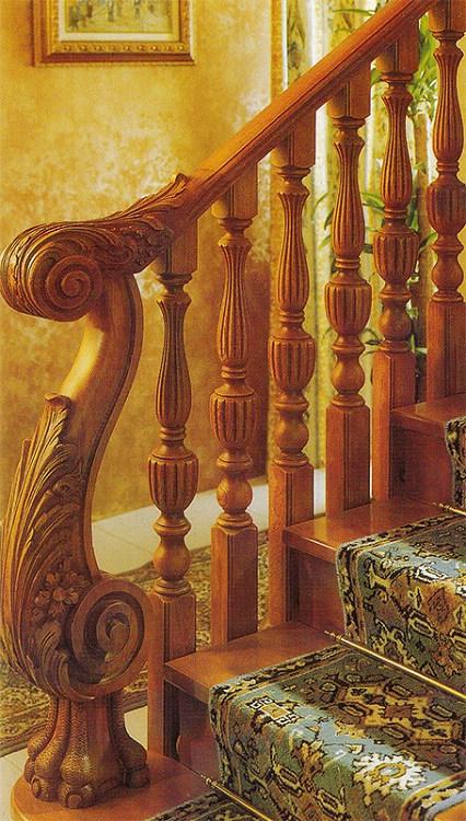 木玻璃阁楼复式别墅室内楼梯扶手立柱踏板欧式rj-017