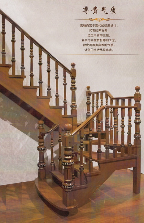 木玻璃阁楼复式别墅室内楼梯扶手立柱踏板欧式rj-019