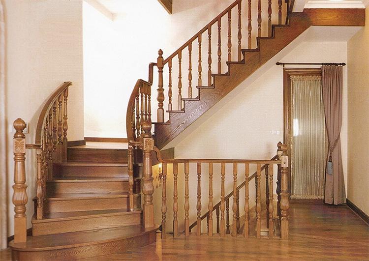 实木旋转/钢木玻璃阁楼复式别墅室内楼梯扶手立柱