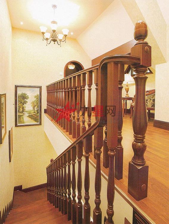 木玻璃阁楼复式别墅室内楼梯扶手立柱踏板欧式rj-02