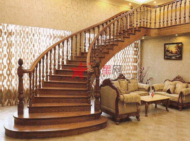 木玻璃阁楼复式别墅室内楼梯扶手立柱踏板欧式rj-035