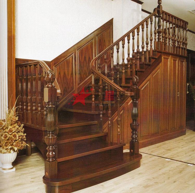 木玻璃阁楼复式别墅室内楼梯扶手立柱踏板欧式rj-021