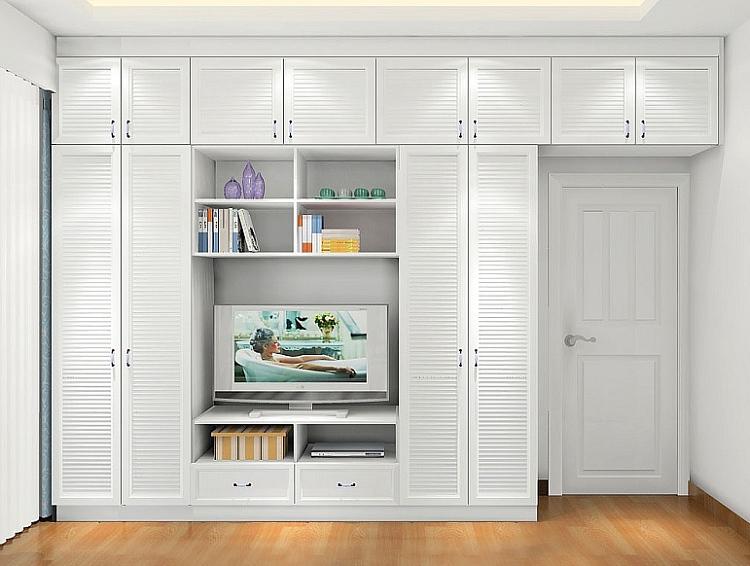 衣柜+电视柜组合 定制田园隐形衣柜白色衣橱