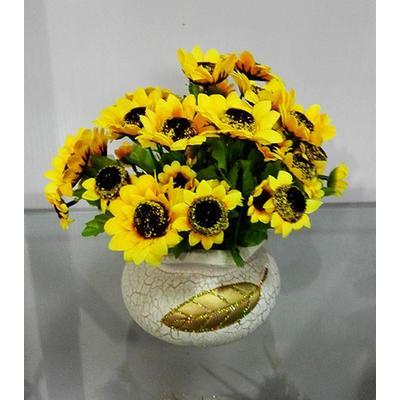 高檔落地陶瓷花瓶仿真向日葵花套裝 假花絹花 餐桌客廳隔板裝飾花