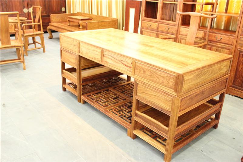柳泉家具 原木色家具 书桌