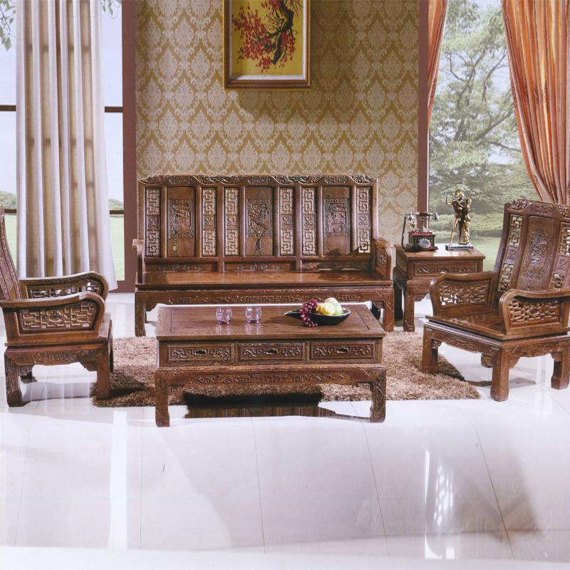 柳泉红木家具 鸡翅木 象头万字沙发5件套