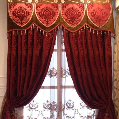 雅丽杰 红色复古窗帘