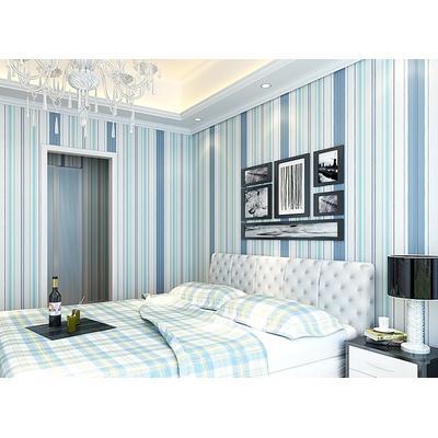 科翔墙纸 地中海蓝白竖条条纹pvc壁纸