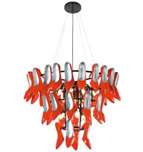 室内照明灯具 吊灯 > 后现代主义风格 个性设计 红色高跟鞋吊灯 工程