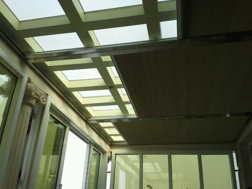 3a窗饰,阳光房顶棚遮光,电动蜂巢帘天棚,又叫风琴帘顶棚窗帘