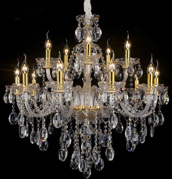 奢华15头玻璃水晶吊灯客厅灯