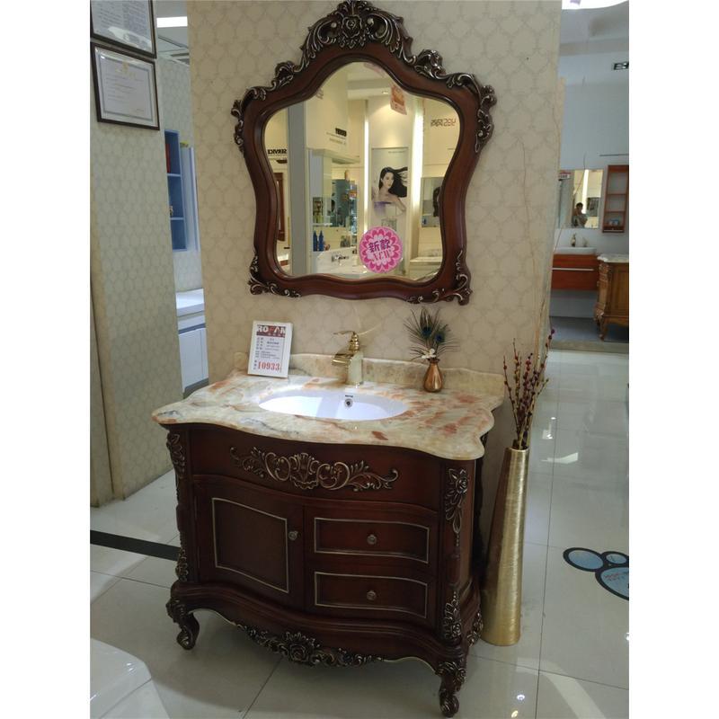 欧式浴室柜三面弧边采用天然玉石台面1米仿古落地柜