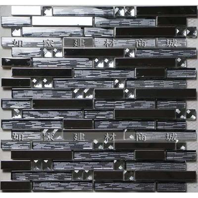 【如家建材商城】长条不锈钢水晶金箔钻面马赛克瓷砖
