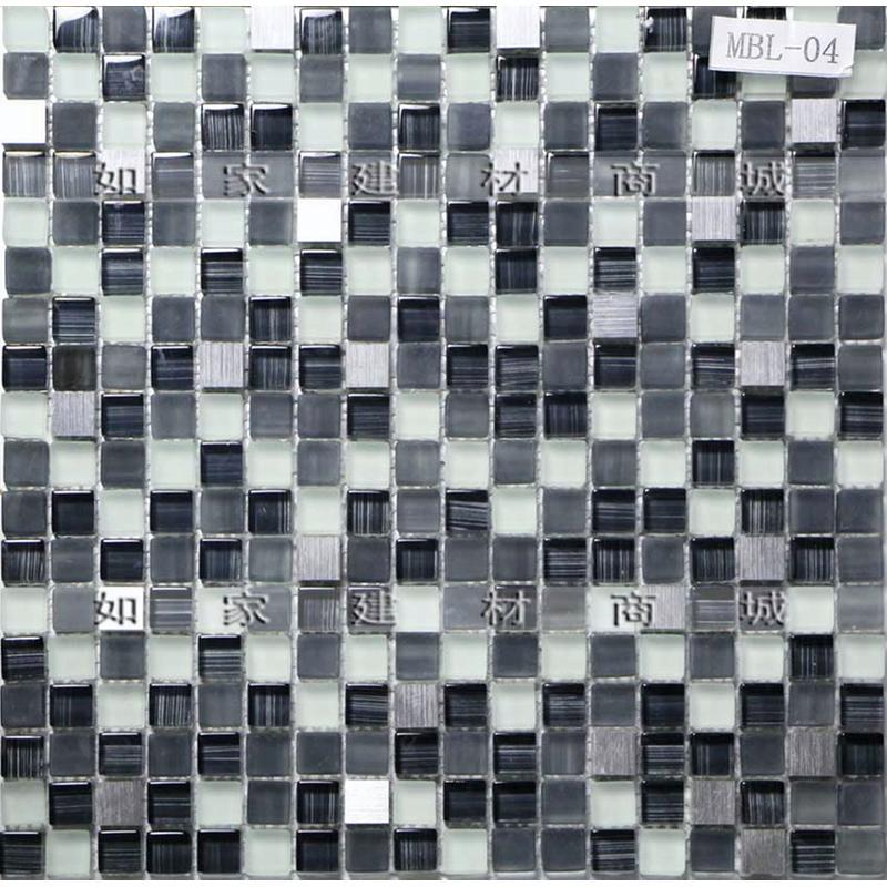 【如家建材商城】小颗粒黑白灰水晶金箔浮雕马赛克瓷砖 背景砖