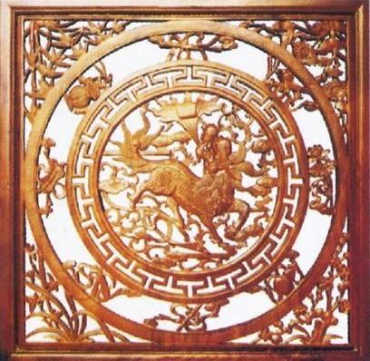 木制工艺雕刻 木制工艺雕刻 > 骏马奔腾中式木雕花格afw412