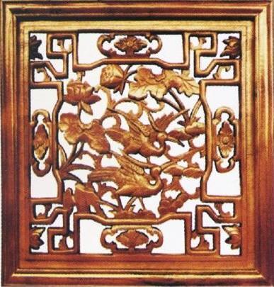 木制工艺雕刻 木制工艺雕刻 > 双鹤齐飞中式木雕花格qyf716