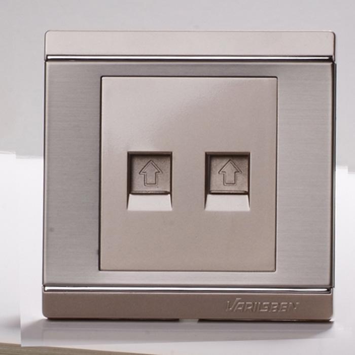 华意松本 不锈钢拉丝面板电脑电话插座