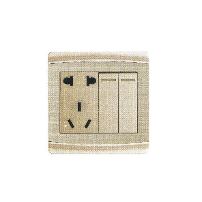 开关 电器开关 > 达通 西蒙电器 二开双控带二,三极插座 sv6-020