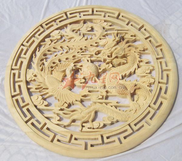 供应艺修木艺hb-0004a东阳木雕 花板 中式装修 吊顶雕花 圆盘 手工雕