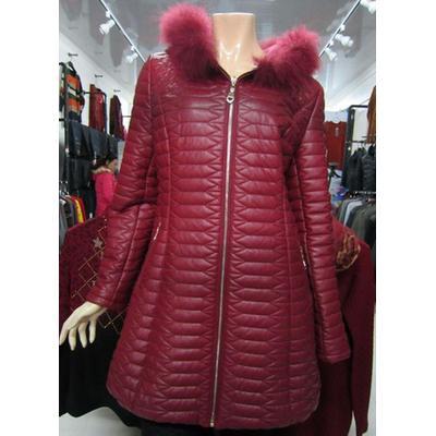 新世纪服装 酒红色皮衣