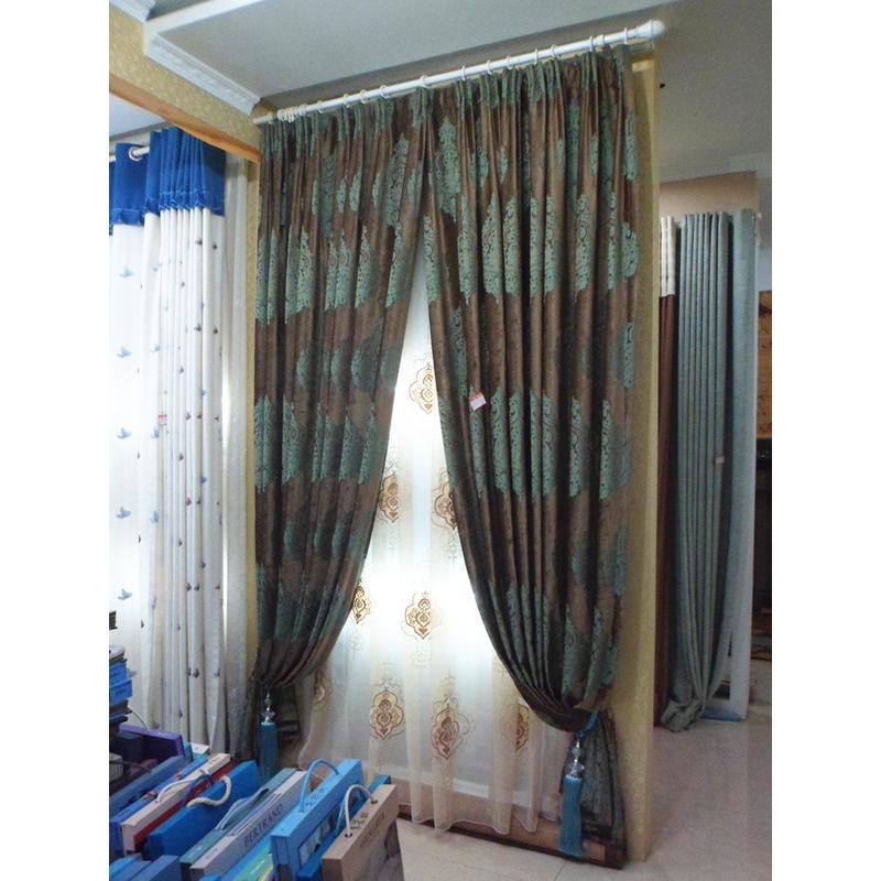 世馨窗帘 欧式金咖底蓝色花朵绒质窗帘
