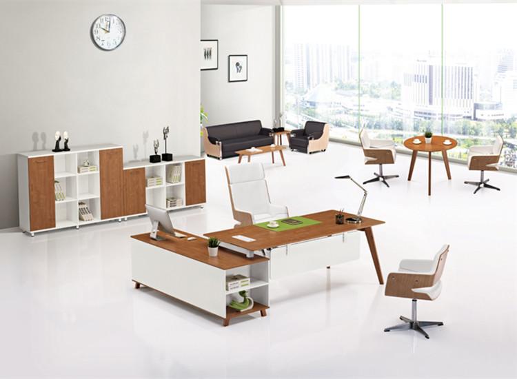 明亚办公家具 办公桌 白色原木色拼接