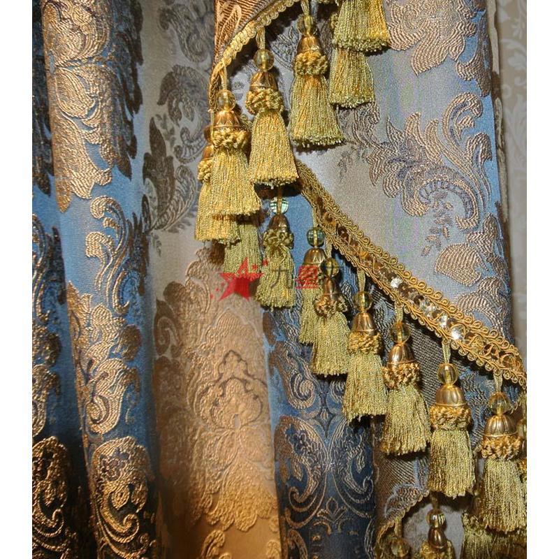 如鱼得水欧式高档金丝暗纹提花绒布贴绣定制奢华别墅